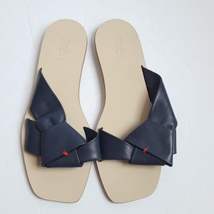 TIBI 37 Amina Origami Slides Sandals Flats